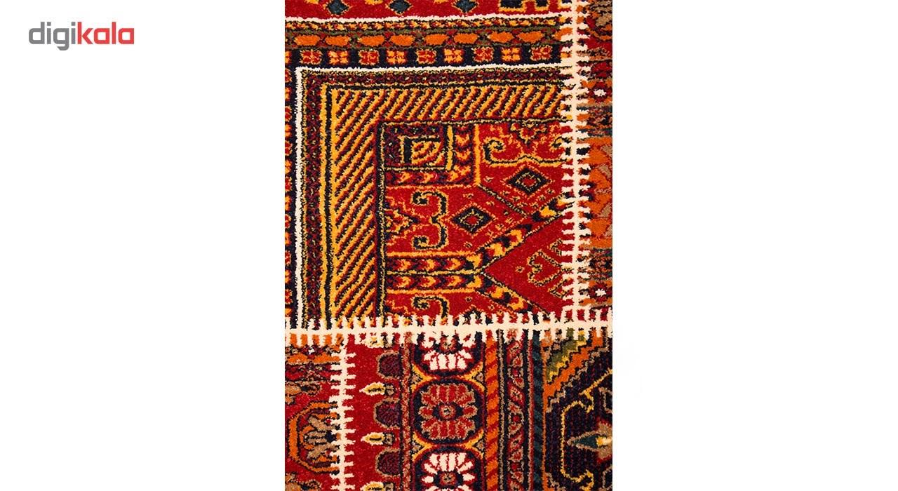 فرش ماشینی ساوین طرح چهل تیکه کد FSM53 زمینه قرمز