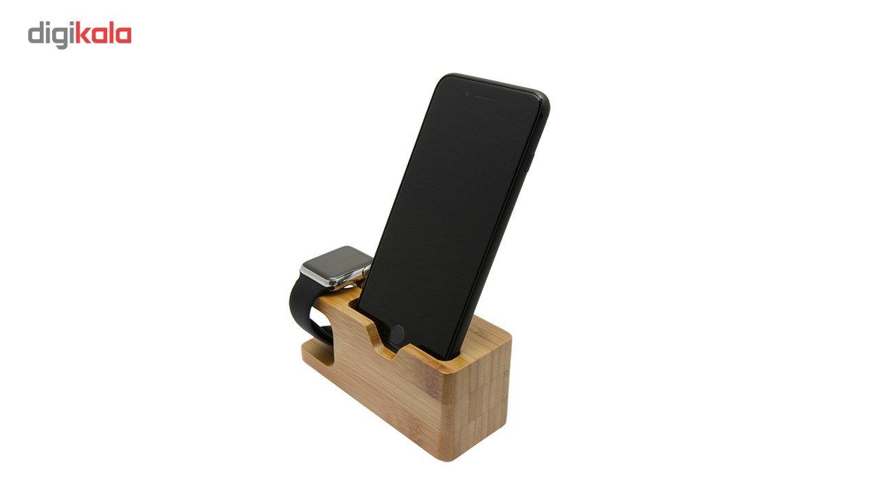 پایه نگهدارنده گوشی و اپل واچ مدل Wood main 1 4