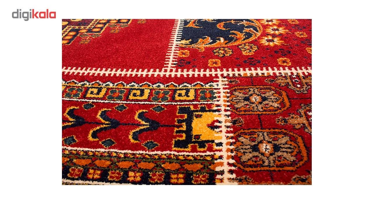 فرش ماشینی ساوین طرح چهل تیکه کد FSM53 زمینه قرمز main 1 3