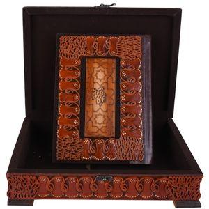 جعبه و قرآن لبه طلایی  پایاچرم طرح جیر دار مدل 00-08 سایز بزرگ