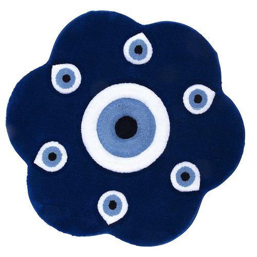 فرش تزیینی زرباف سری چشم نظر مدل گل سایز 75 × 75 سانتی متر