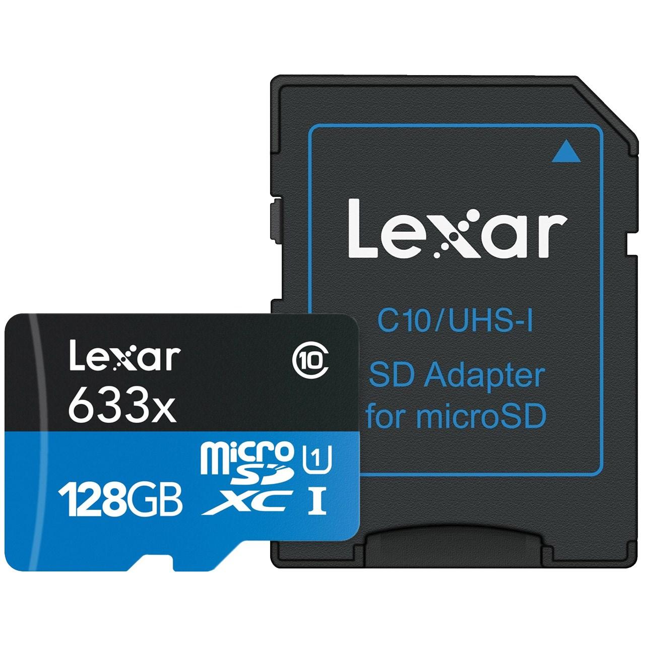 کارت حافظه microSDXC لکسار مدل High-Performance کلاس 10 استاندارد UHS-I U1 سرعت 95MBps 633X همراه با آداپتور SD ظرفیت 128 گیگابایت