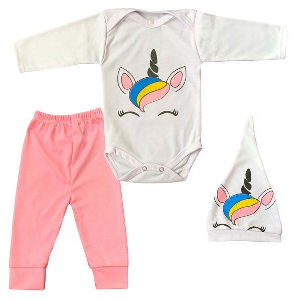 ست 3 تکه لباس نوزادی دخترانه طرح تک شاخ کد FF-174