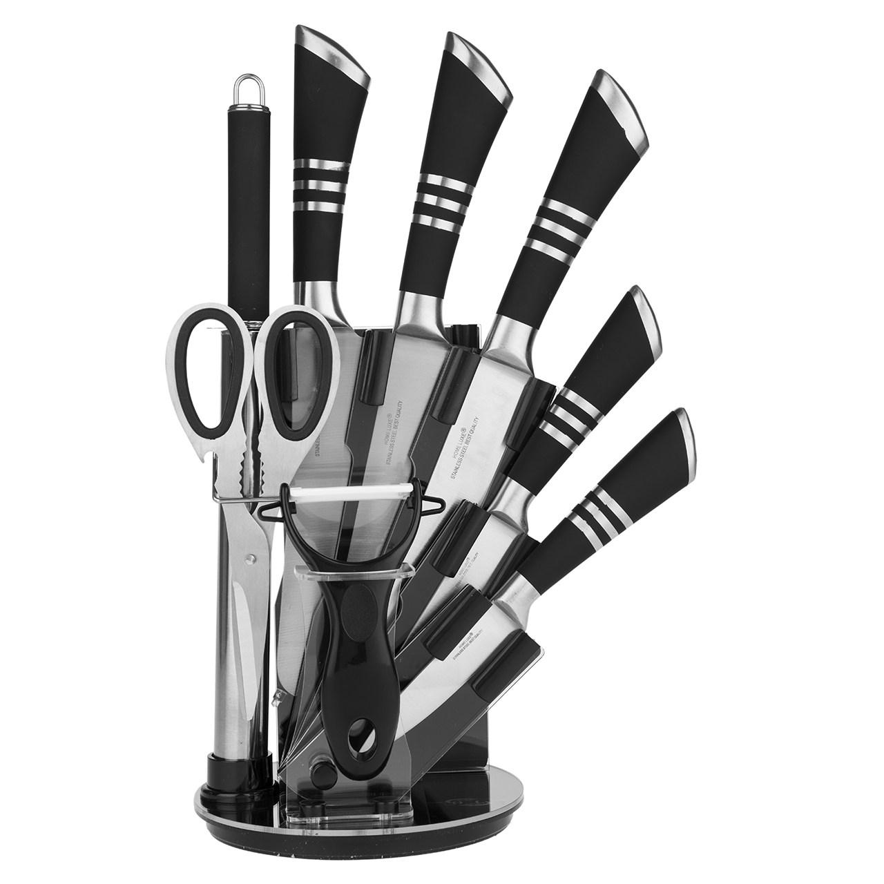 ست چاقو آشپزخانه 9 پارچه هوم لوکس سری کیچن نایف مدل RL-QKS1605