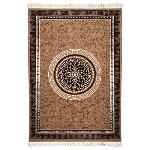 فرش ماشینی قالی دینا طرح ورساچ کد 7080 زمینه کرم