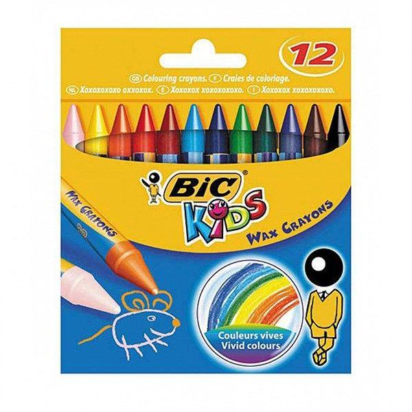 مداد شمعی بیک مدل کیدز - بسته 12 رنگ