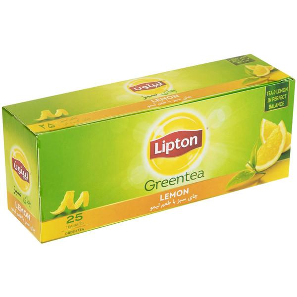 چای سبز کیسه ای لیپتون مدل Lemon بسته 25 عددی