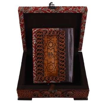 جعبه و دیوان حافظ نفیس طرح چرم و ترمه مدل 00-13 سایز متوسط