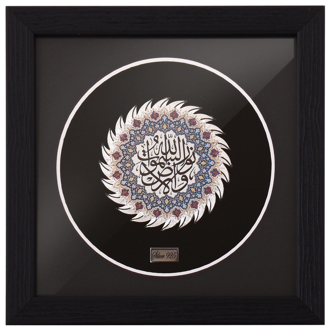خرید                      تابلو نقره گالری گنجینه مدل 00-11 طرح نور و السماوات