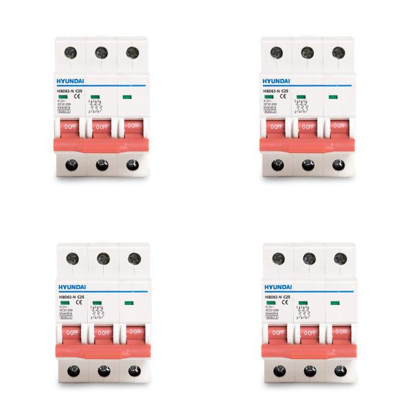 فیوز مینیاتوری سه فاز 25 آمپر هیوندای مدل C25 بسته 4 عددی