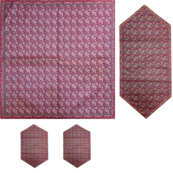 ست 4 تکه رومیزی ترمه ابریشمی کد 1002