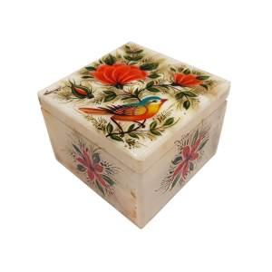 جعبه سنگ مرمر طرح گل و مرغ مدل 3088