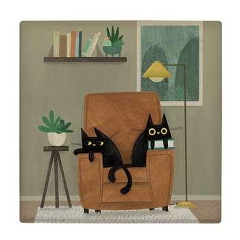 کاشی طرح گربه ها روی کاناپه کد wk1989