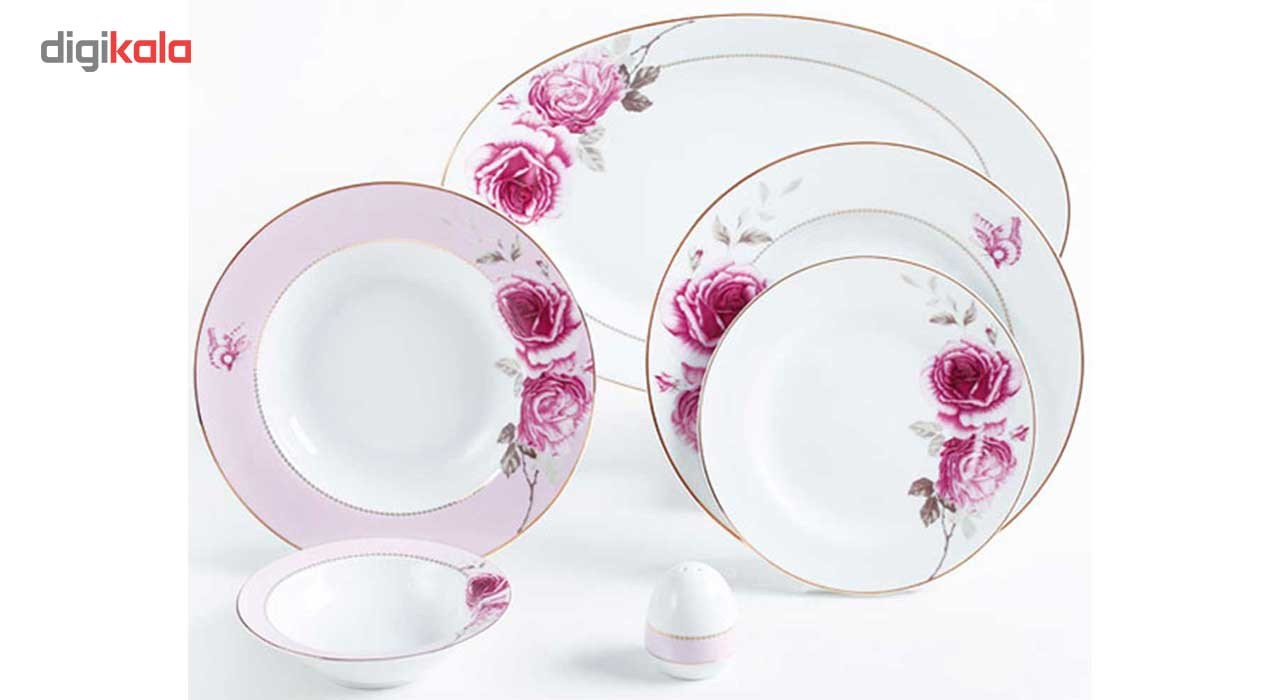 سرویس غذاخوری 28 پارچه چینی زرین ایران سری ایتالیا اف مدل Rose Flower درجه یک