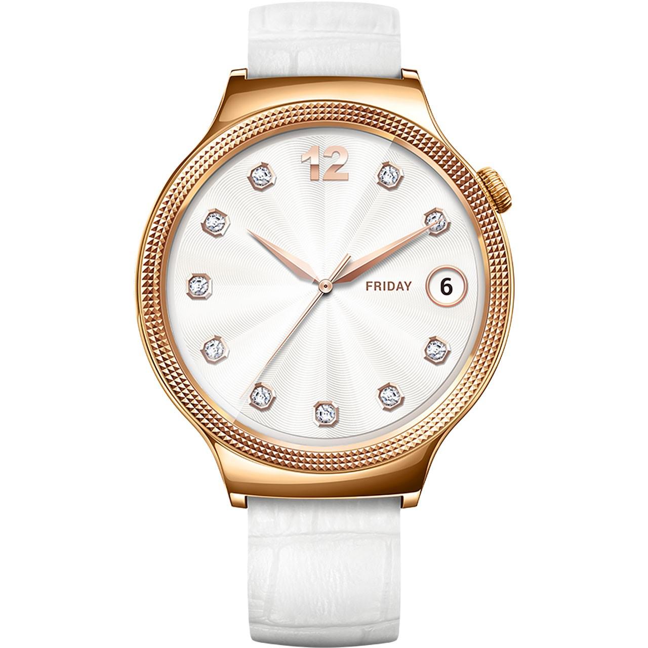 ساعت هوشمند زنانه هوآوی واچ مدل Rose Gold Case with White Leather Band