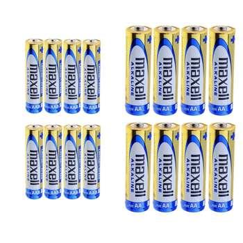 باتری قلمی و نیم قلمی مکسل مدل Alkaline بسته 16 عددی
