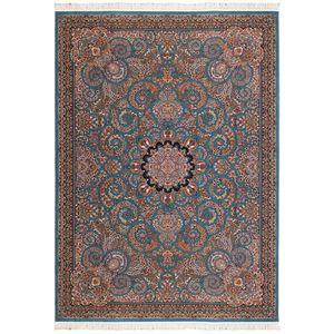 فرش ماشینی سرزمین فرش طرح میترا زمینه آبی