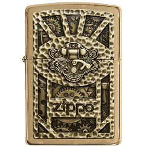 فندک زیپو مدل Steampunk Box Emblem Brushed Brass کد 29103