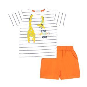 ست تی شرت و شلوارک نوزادی فیورلا مدل 21047
