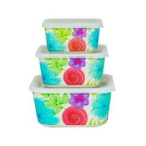 ست ظرف نگه دارنده سه پارچه بامبو فونیکس مدل Flora438 مربع