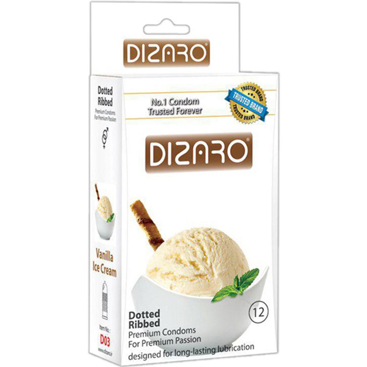 قیمت کاندوم خاردار دیزارو مدل Vanilla Ice Cream بسته 12 عددی