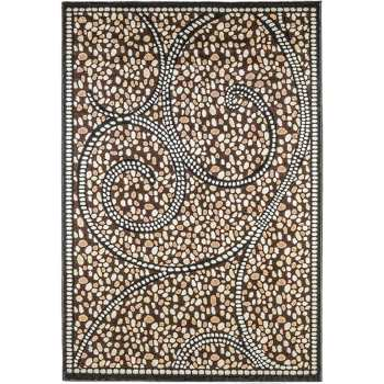 فرش ماشینی سهند کد C038.XN   طرح سنگی زمینه گردوئی