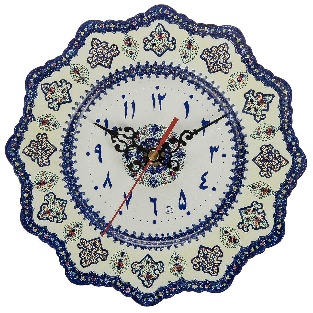 ساعت مسی میناکاری شده اثر اسماعیلی طرح 2 قطر 20 سانتی متر - اعداد فارسی