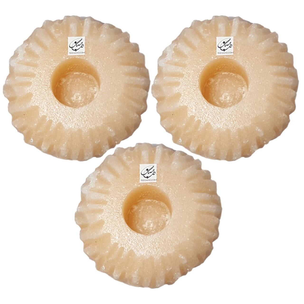 خرید                      شمعدان سنگ نمک طب سنگ طرح جاشمعی آذرخش کد TC-40133 - بسته سه عددی