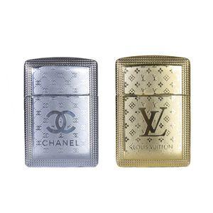 فندک طلایی و نقره ای بسته 2 عددی طرح Chanel و Louis Vuitton