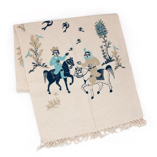رومیزی چاپ دستی گالری گدار مدل بهرام و آزاده آبی