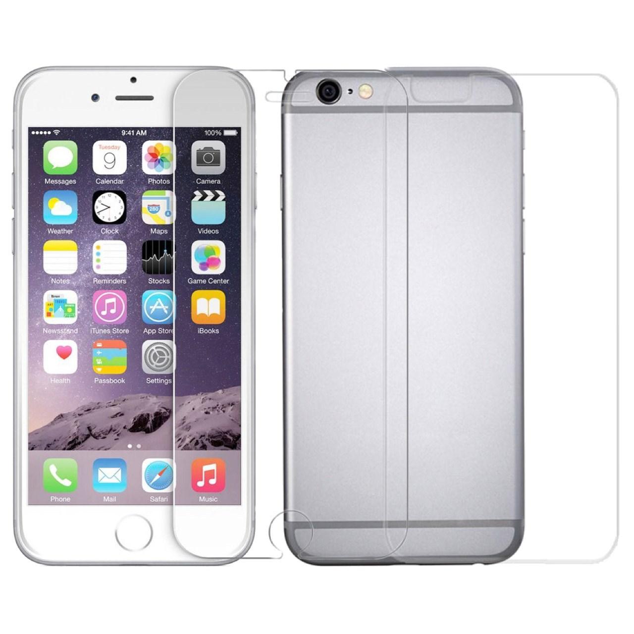 محافظ صفحه نمایش و پشت شیشه ای تمپرد مناسب برای گوشی موبایل اپل آیفون 6 پلاس