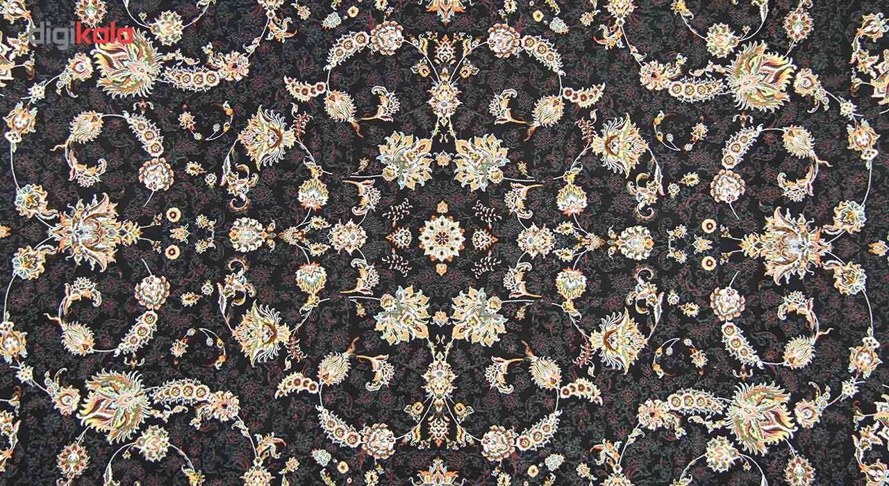فرش ماشینی زمرد مشهد طرح 36007 زمینه سرمه ای