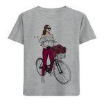 تی شرت دخترانه مدل دختر و دوچرخه M80