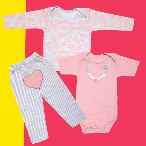 ست 3 تکه لباس نوزادی دخترانه طرح قلب کد 3149