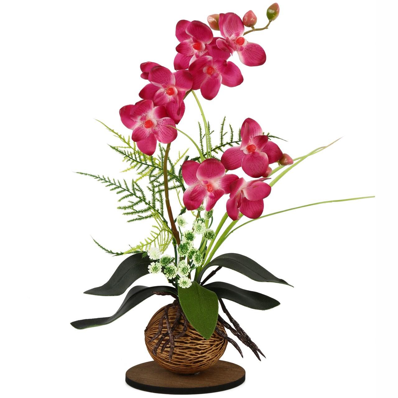گلدان به همراه گل مصنوعی هومز طرح ارکیده مدل 22191