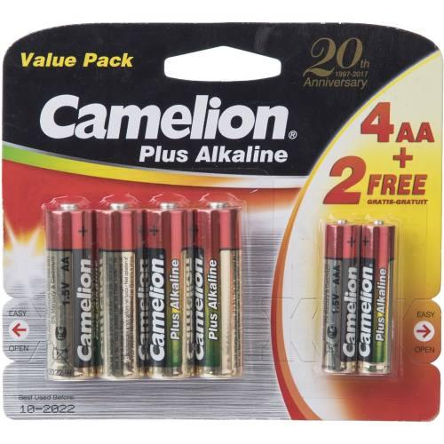 باتری قلمی و نیم قلمی کملیون مدل Plus Alkaline بسته 6 عددی