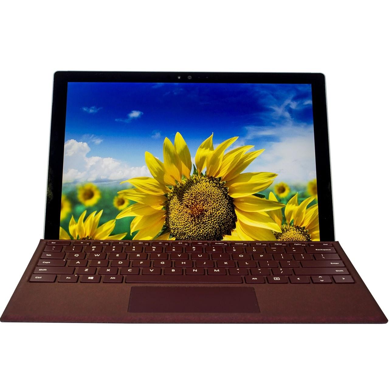 تبلت مایکروسافت مدل Surface Pro 2017 - C به همراه کیبورد Burgundy Signature Type Cover - ظرفیت 256 گیگابایت