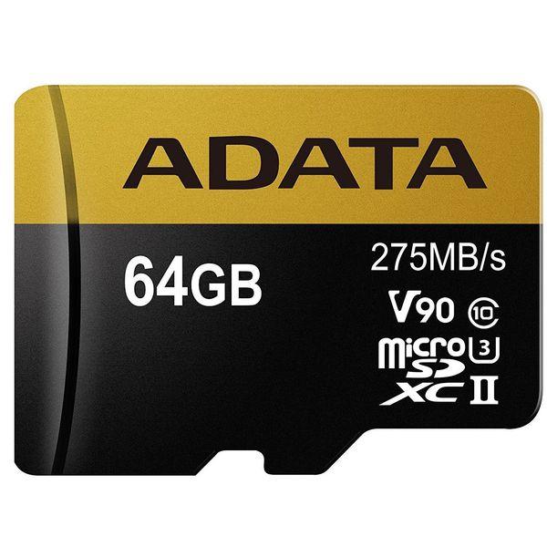 کارت حافظه microSDXC ای دیتا مدل Premier ONE V90 کلاس 10 استاندارد UHS-II U3 سرعت 275MBps ظرفیت 64 گیگابایت