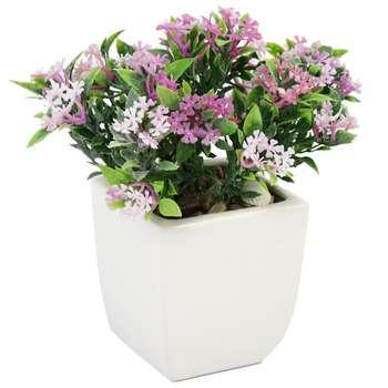 گلدان سرامیک به همراه گل مصنوعی هومز طرح پنجه ای مدل 32501