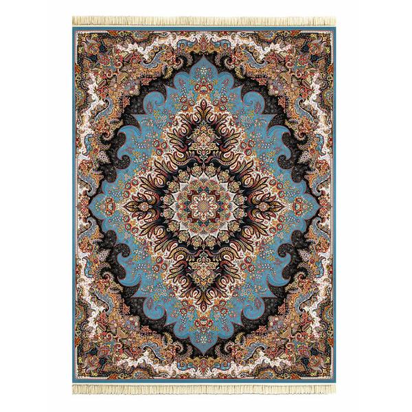 فرش ماشینی داریوش طرح ملورین زمینه آبی فیروزه ای