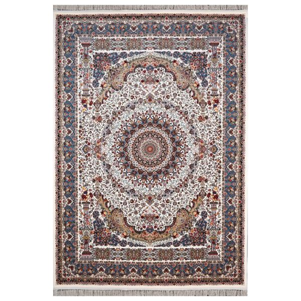 فرش ماشینی فرش هدیه  طرح شاهانه زمینه کرم