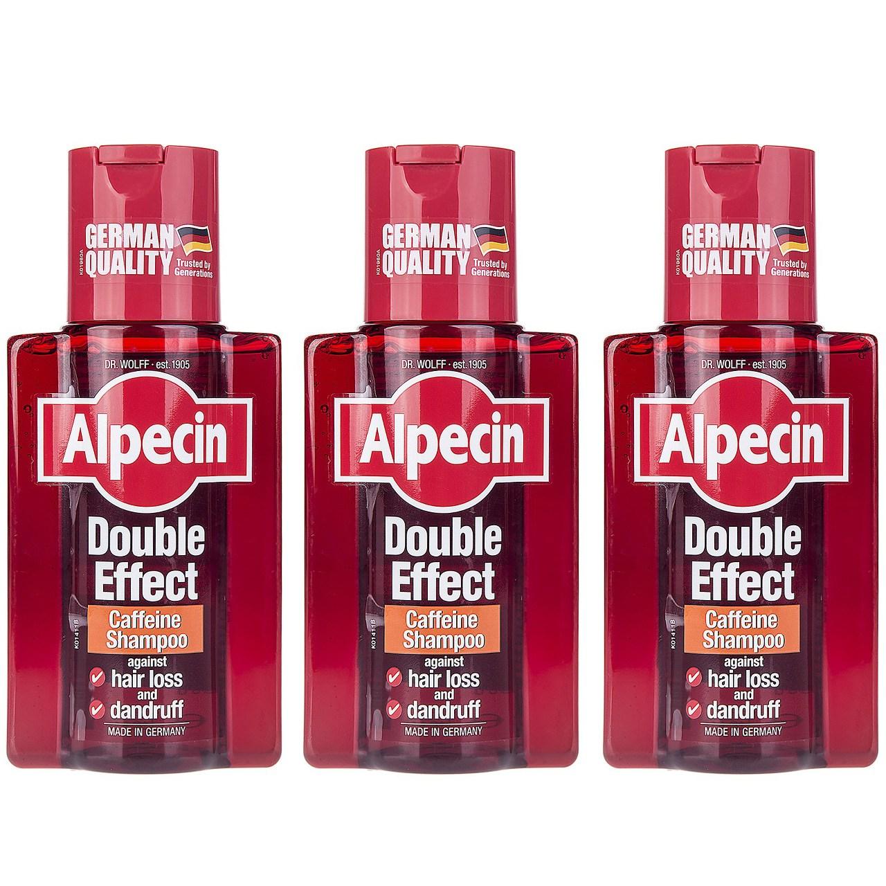 قیمت شامپو ضد شوره آلپسین مدل Double Effect Caffeine حجم 200 میلی لیتر بسته 3 عددی