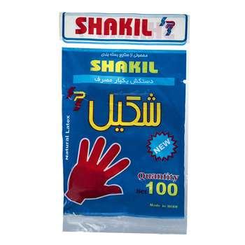 دستکش یکبار مصرف شکیل کد 12498 بسته 100 عددی
