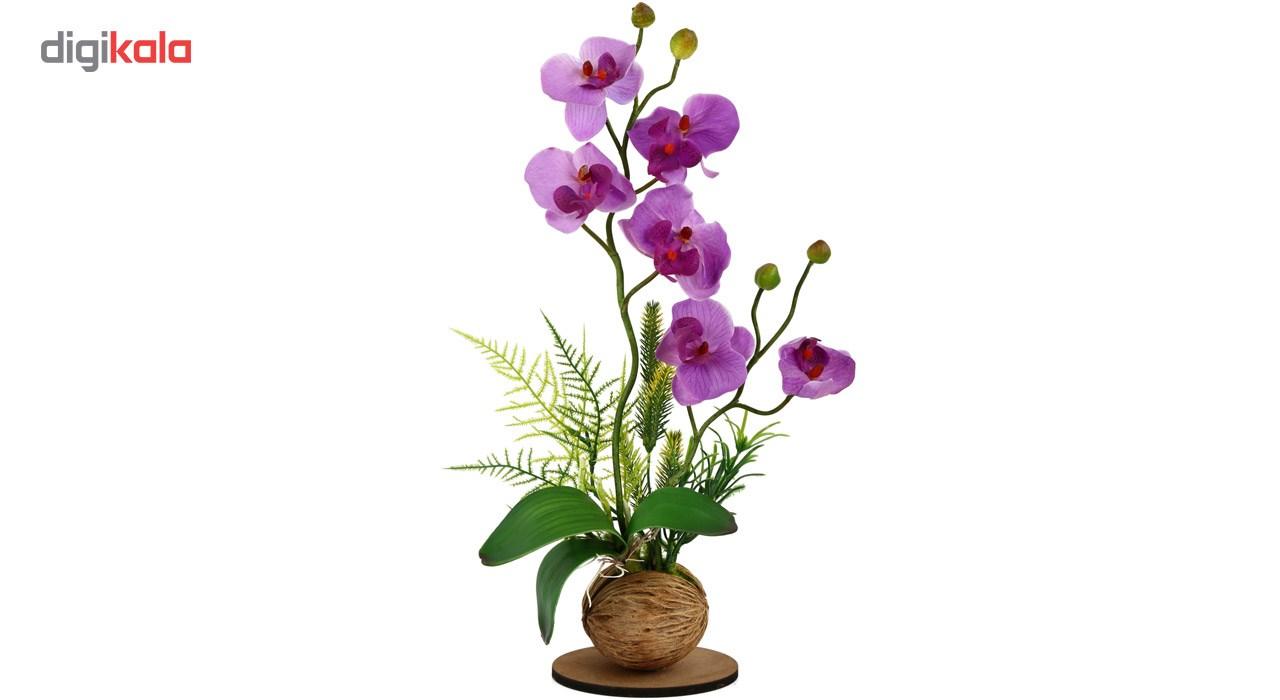 گلدان به همراه گل مصنوعی هومز طرح ارکیده مدل 30231
