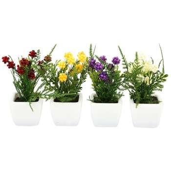 گلدان به همراه گل مصنوعی هومز طرح تمشکی مدل 30869 مجموعه 4 عددی