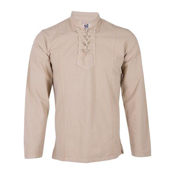 پیراهن مردانه چترفیروزه طرح رویال کرم کد 3