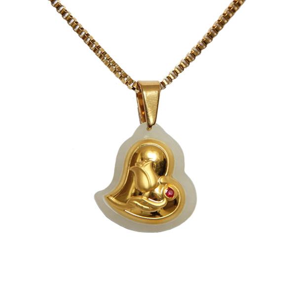 گردنبند طلا 24 عیار ماربلین طرح قلب شقایق کد GJ2070