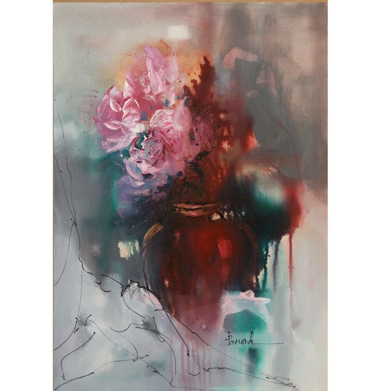 تابلو نقاشی اثر استاد خانم پناه مدل F04 طرح گل های بهشتی