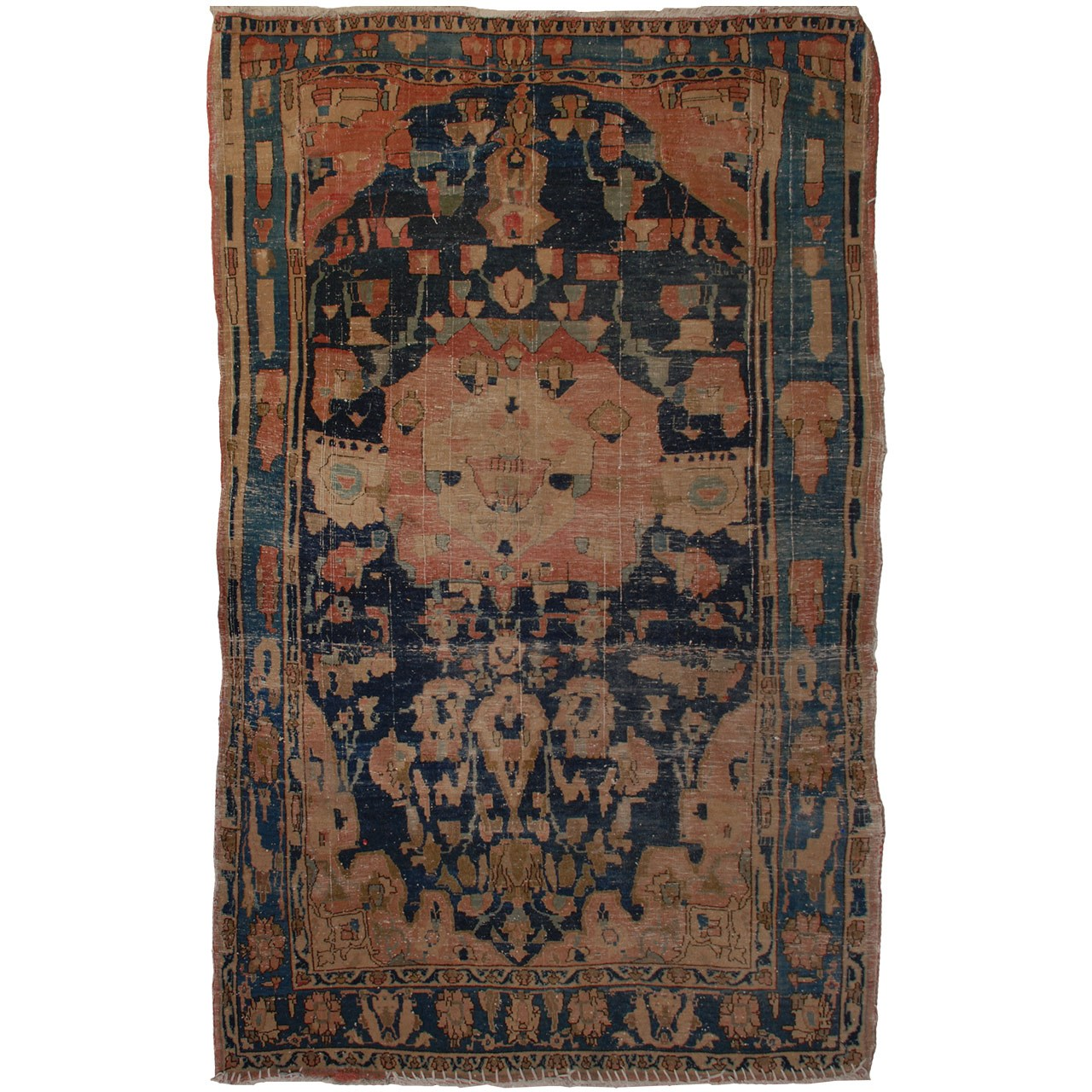 فرش دستبافت قدیمی یک و نیم متری فرش هریس کد 100175