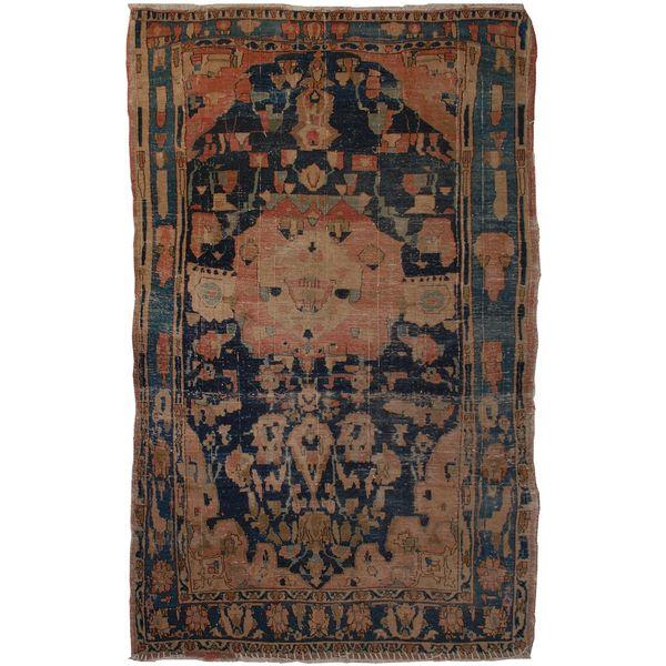 فرش دستبافت قدیمی یک و نی�� متری فرش هریس کد 100175